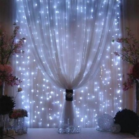 fairy string lights sheer curtains window *doesn't have to be so many strings but a general idea of what I have in mind for my loft bed (over cab). Soft and different.