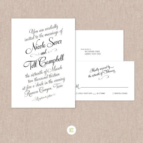 Cursive Wedding Invitations: Cursive Wedding Invitation & Reply Card Printable By