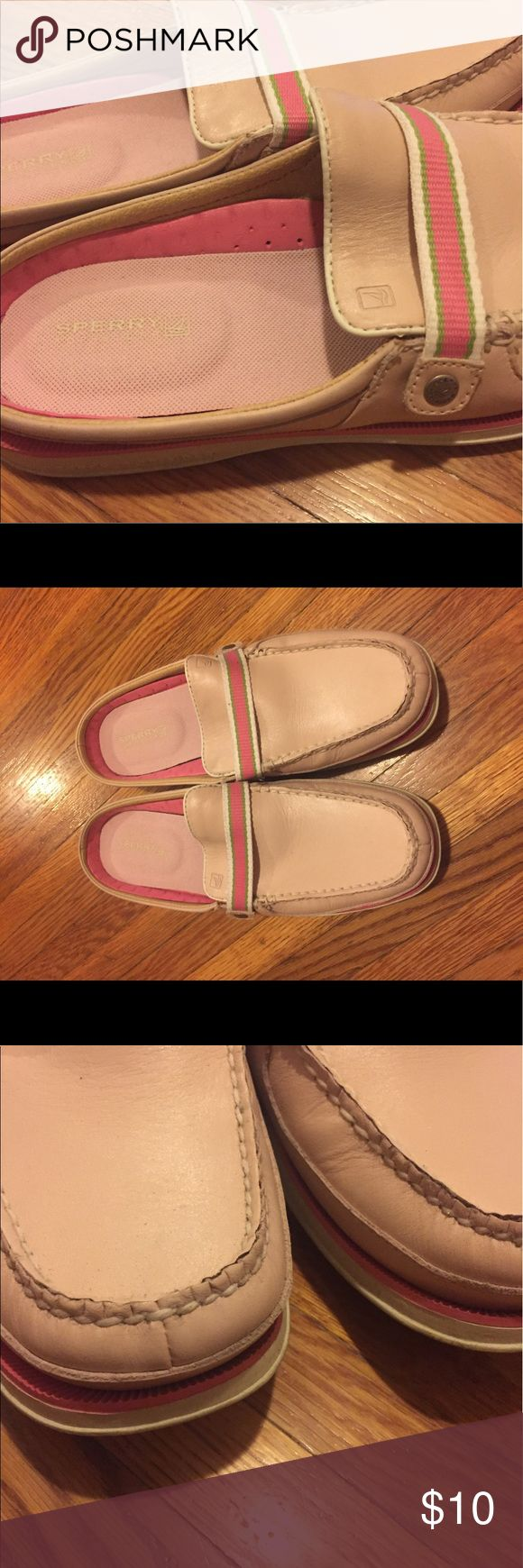 Sperry Topsider pink open heel boat shoes Ahoy! All you need is a yacht in these. Good used condition Sperry Topsiders with a green and pink ribbon! Good used condition. No flaws, soles are a little dirty. Sperry Top-Sider Shoes Flats & Loafers