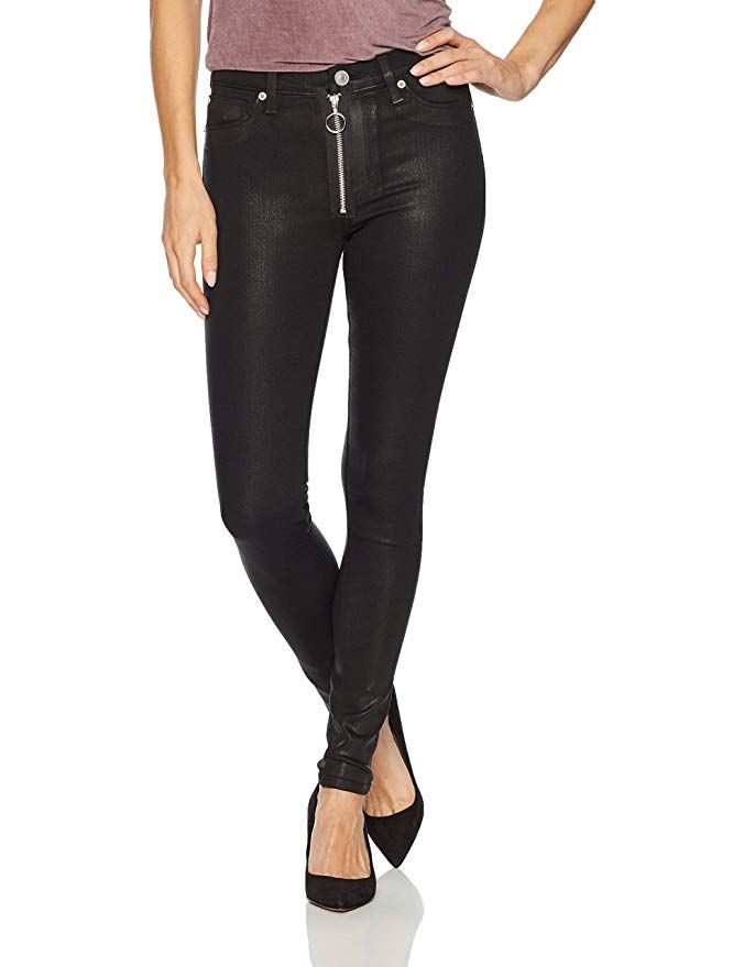 078342a2349 Hudson Jeans Women's Barbara High Rise Super Skinny Jean with Exposed  Zipper, Black Coated 24