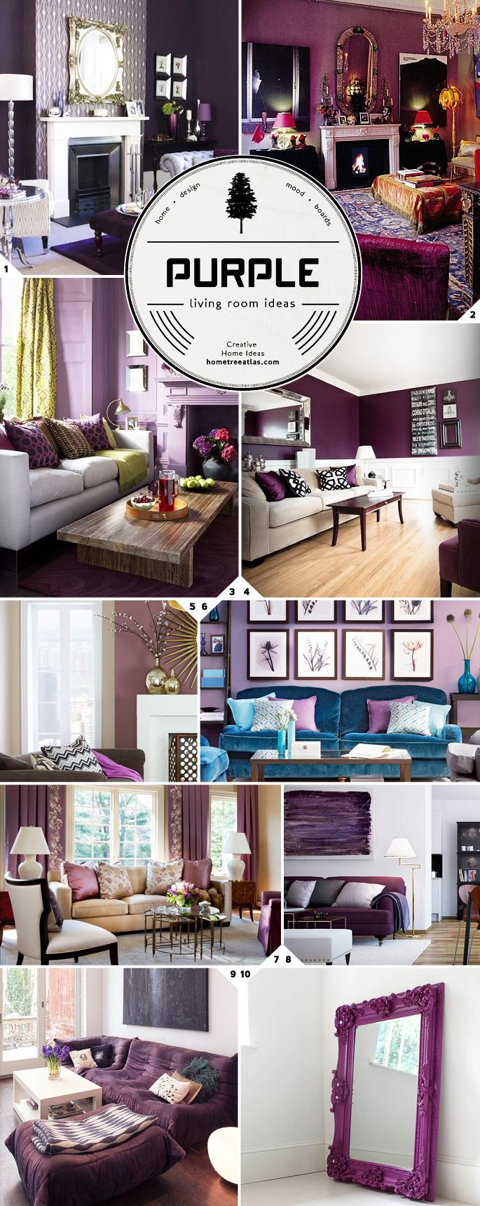Purple Living Room Design Ideas.