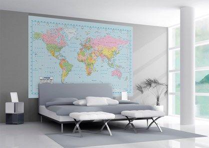 Flot og detaljeret verdenskort - kortet er 158 cm i højden og 232 cm i bredden.