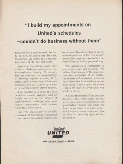 """1962 UNITED AIRLINES vintage magazine advertisement """"I build my appointments"""" ~ """"I build my appointments on United's schedules -- couldn't do business without them"""" - Back and forth coast to coast, border to border, to and from Hawaii, Mainliners are going at all convenient hours of the day and night. ~"""