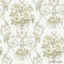 Papel de parede Decoração Floral Origini 205-17 , Wallpaper, Importado, Lavável, Superfície lisa, Branco, Cinza e Bege