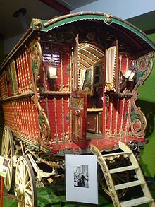 Gypsy's, tramps, and thievesdating as far back as the early 1500's were the original vagabonds... They moved from town totown in..... horse-drawn carriages selling their wares. From that lifestyle came beautiful hand carved and very elaborate designs like this wagon...
