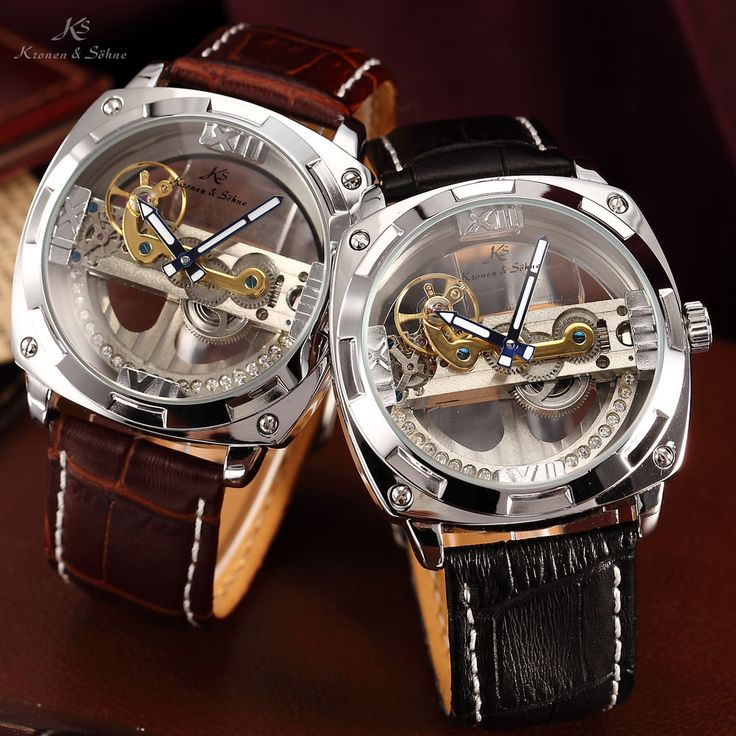 New KS Mens Luxury Skeleton Steampunk Bridge Leather ...