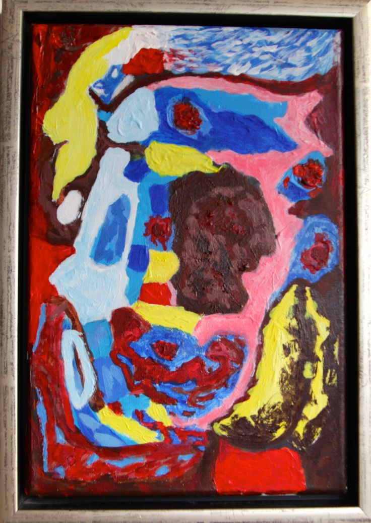Le creature che si affacciano per la speranza – Skabningerne kigger ud efter håb, 30 x 20 cm, acrylic on canvas.