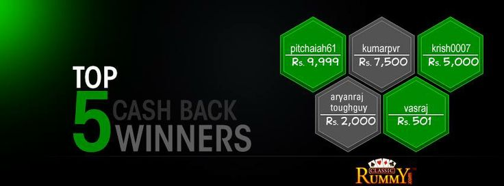 #Congratulations to the Top 5 Players of Week!!!  Every week Top 5 #players will #win a share of Rs 25,000 #CASHBACK.  For more details about the offer check the link below >>  https://www.classicrummy.com/free-rummy-cash-back-offer?link_name=CR-12