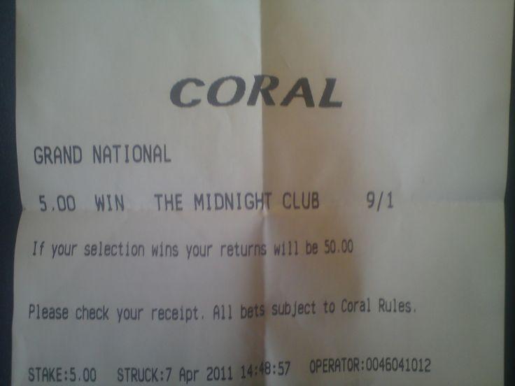 Grand National betting slip.