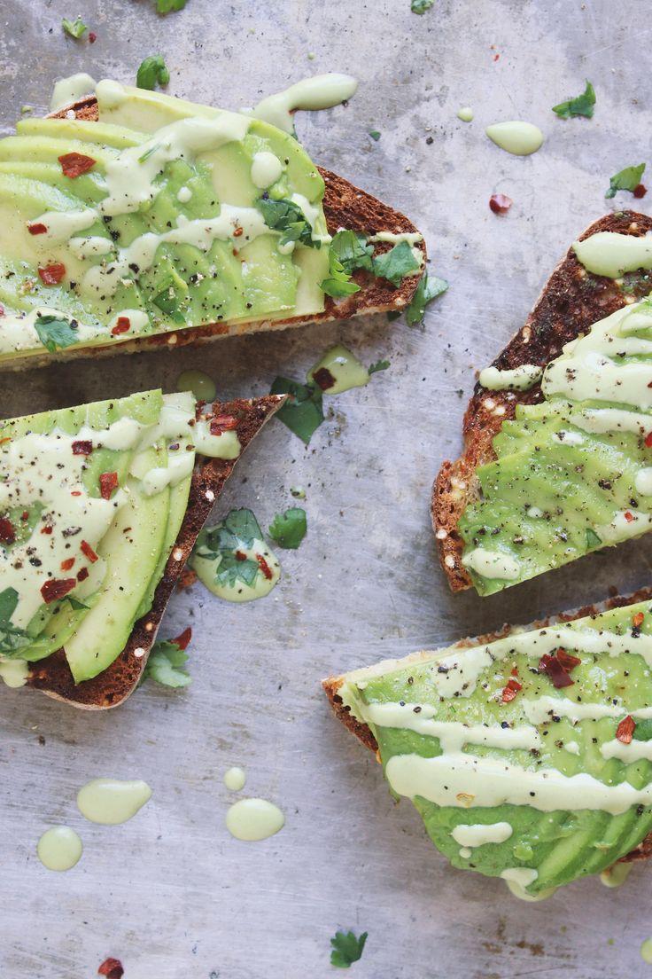 avocado toast with cilantro lime cashew cream