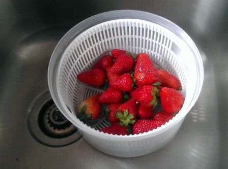 Household items do double duty; a salad spinner as a colander!