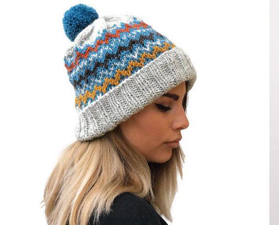 Gray Knit women hat / knit fair isle hat /  winter by PepperKnit