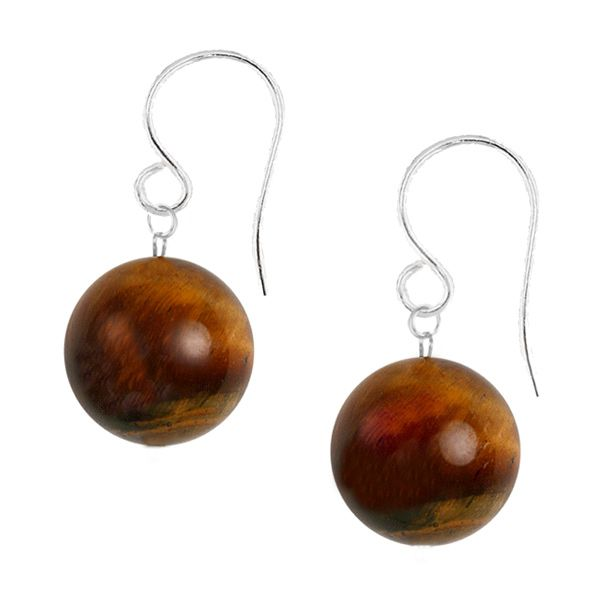 Ione Tigers Eye Gemstone Earrings - Tiger's Eye is one of my abolutely favourite gemstones. I lave the warm glow of the deep chocolate background and the way the light catches the warm honey and rich russet highlights. These stones almost seem alive.  A captivating 8mm Tiger's Eye gemstone is suspended from a sterling silver hook. An elegant classic look.