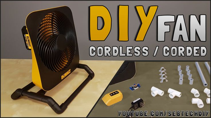 How to make this DIY cordless / corded portable fan. Designed to be used with my power tools batteries, this is super useful for the jobsite, camping or to fight hot summer heat! #dewalt #diy #portable #fan #handmade #jobsite #jobsitefan #power #tools #cordless  #tools #ventilateur #portable #makita #milwaukee #bosch #ridgid #ryobi #project #how #to #make #build #20v #12v #camping
