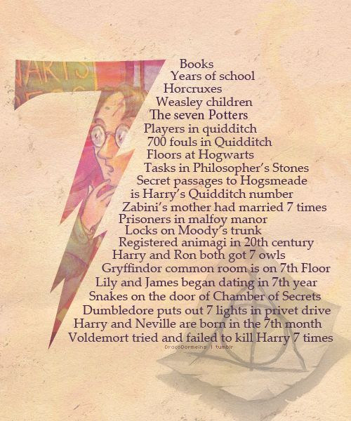 Harry Potter and the number 7. o-oNerd, Favorite Numbers, Hogwarts, Harrypotter, Mindfulness Blown, Lucky Numbers, Book, Harry Potter Facts, Magic Numbers