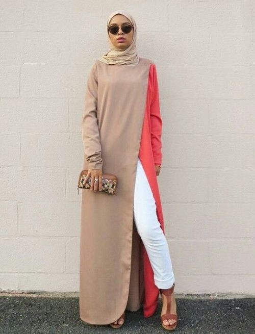 Long Beige With Coral Maxi Dress Hijab Pinterest