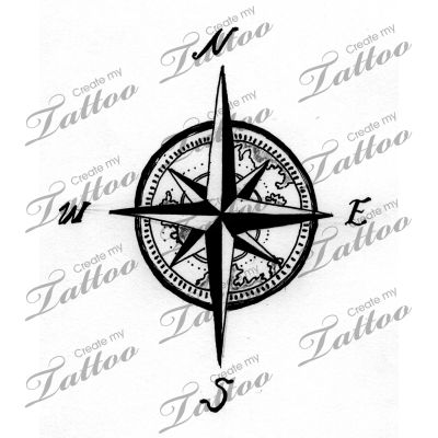 I like the map detail in the face of the compass, but instead of bold lines I'd want to use thin lines to create the contrast || Compass tattoo for forearm! | ! #119601 | CreateMyTattoo.com