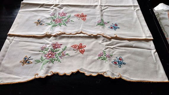 Vintage Embroidered Light Beige Pillow Cases with Butterflies