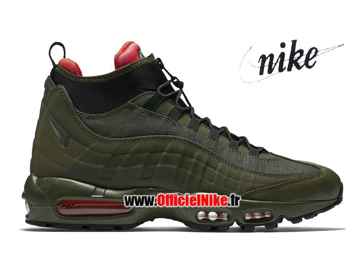 Homme Chaussures Nike Air Max 95 SneakerBoot Loden sombre/Kaki cargo/Cramoisi brillant/Noir 806809-300