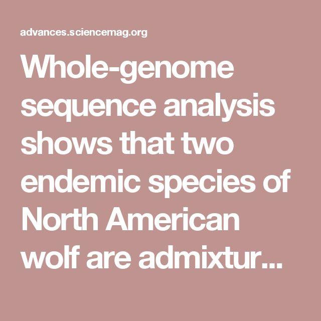 Whole-genome sequence analysis shows that two endemic species of North American wolf are admixtures of the coyote and gray wolf | Science Advances