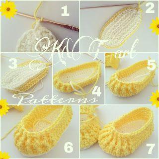 Instrucciones zapatitos tejidos color amarillo con gancho