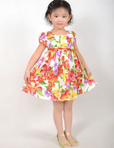 New Girls Dress Yellow Flower Party Sundress Kids Clothes Size 2-10