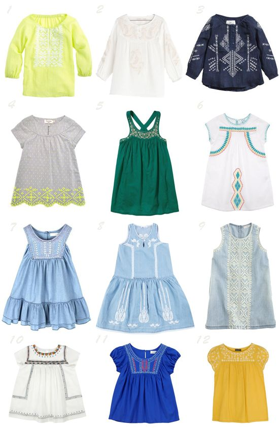 Little girl embroidered clothes spring summer 2014 / Prendas bordadas tendencia moda infantil primavera verano 2014