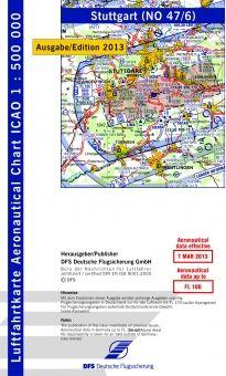 #ICAO Karte #Stuttgart 2014 ohne Folie #Luftfahrtkarte  Maßstab 1 : 500.000