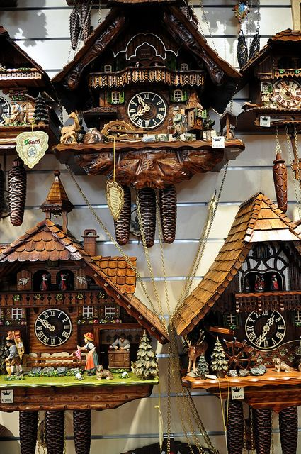 It is thought that the first cuckoo clocks were made in the Black Forest region, the Schwarzwald now part of Baden Wuerttemberg, and quickly became popular. These days they are made in many areas of Germany and these are from Fuessen in Bavaria, which also is famous for making violins. For more click the link: 'Germany, Its Cuckoo Clocks And The Black Forest'