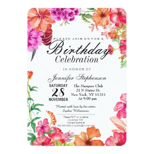120 best garden birthday party invitations images on pinterest pink orange watercolor garden birthday party card stopboris Choice Image