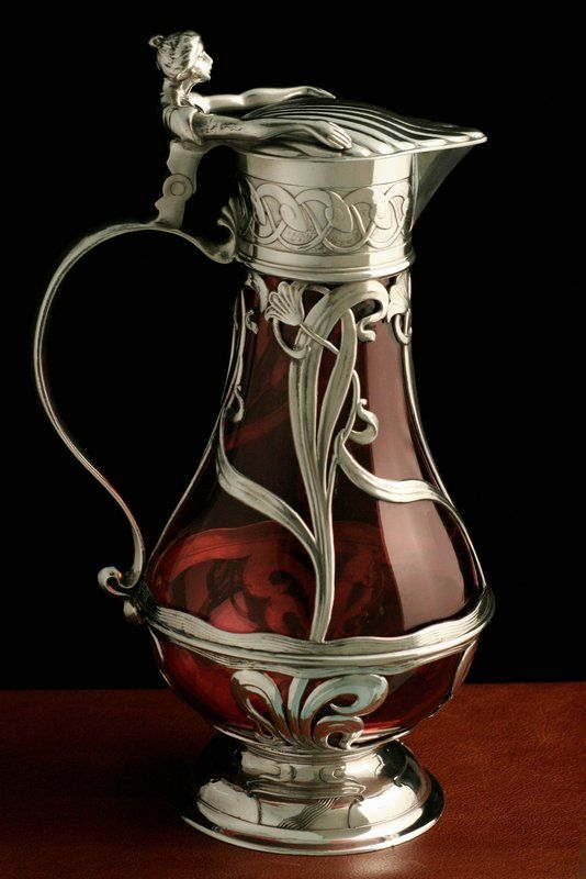 Art Nouveau Figural Pewter and Glass Wine Jug: