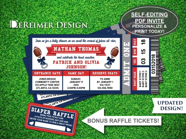Sports Ticket Baby Boy Shower Invitation, All-Star Baby Shower, Football, Blue and Red, Self-Editing PDF Invite, BONUS Diaper Raffle Tickets