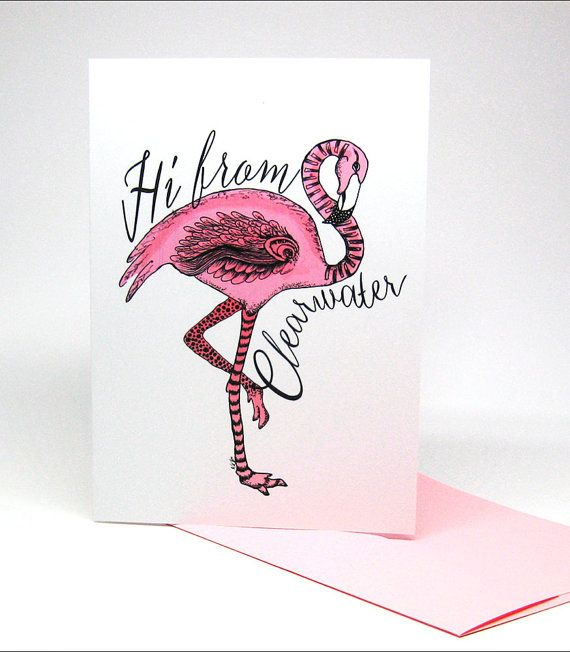 Flamingo City Clearwater Florida Greeting Card by KateKreatesArt