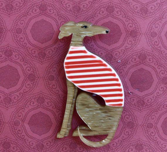 Multi-layered brooch  Greyhound dog wearing by TheFlightyFlamingo