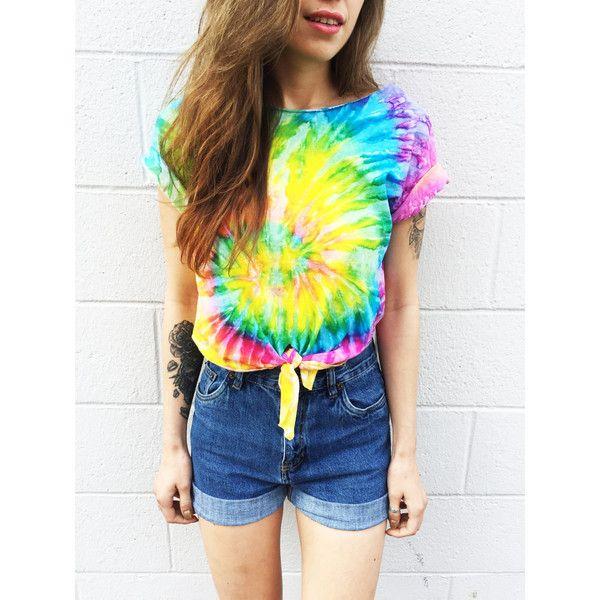 Tie Dye Crop Top Coachella Crop Top Tiedye Tshirt Women's Clothing... ($30) ❤ liked on Polyvore featuring tops, t-shirts, crop top, tie front shirt, hippie shirt, tie die t shirts and hippie t shirts