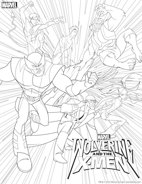 Free superhero printables wolverine and x men coloring pages