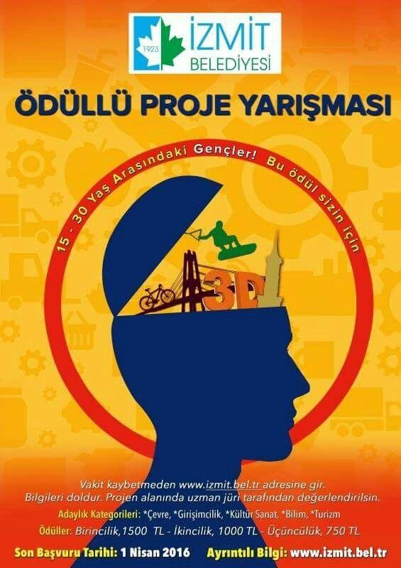 Haydi İzmit için hep beraber olalım! Çevre, Girişimcilik, Kültür Sanat, Bilim ve Turizm konularında İzmit için projeni üret ödül kazanma şansını yakala. Ayrıntılar: http://www.izmit.bel.tr/mudurlukhizmetleri/izmit-belediyesi-odullu-proje-yarismasi_0148/