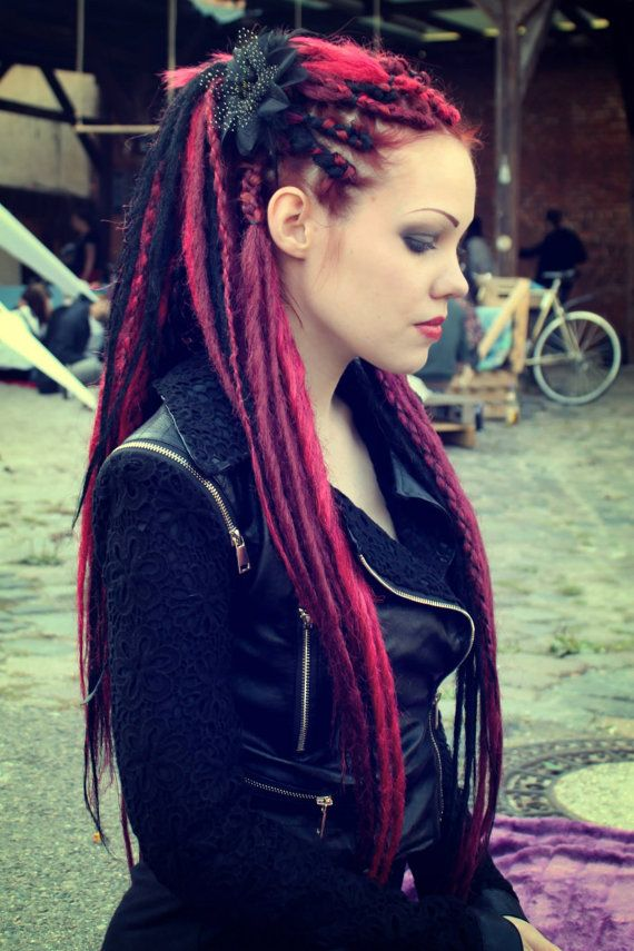 1/4 Set Black Red & Burgundy Synthetic Dreads by TWODOTSHAIR
