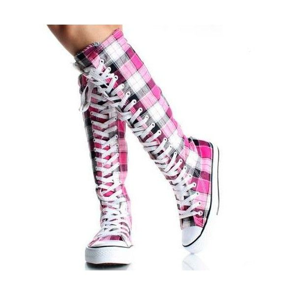 All Star Converse Cano Alto Quadriculado Rebeldes Rock Punk ❤ liked on Polyvore