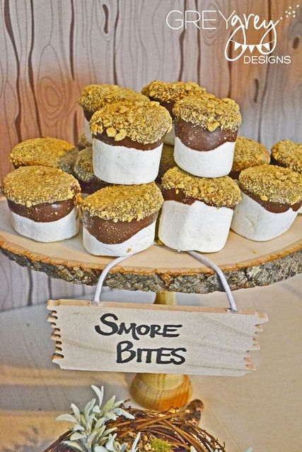 How cute are these marshmallow bites at this woodland birthday party! See more party ideas at CatchMyParty.com.