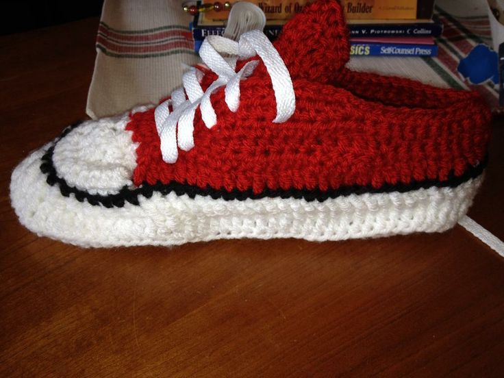Crochet Pattern For Converse Slippers : PATTERN ONLY ! Crocheted shoe style converse slippers ...