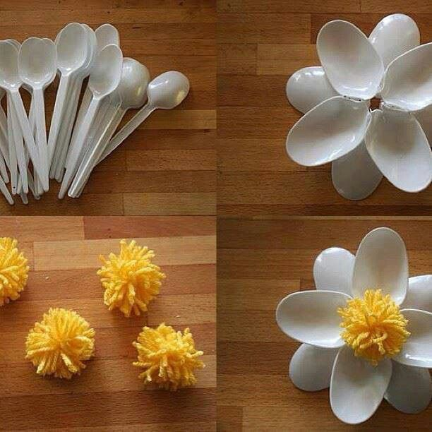 Best 25 plastic spoon art ideas on pinterest for Flowers made out of plastic spoons