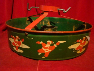 Vintage Christmas Tree Stand ~ Tin Nesco Santa Claus ~ Circa 1940's.