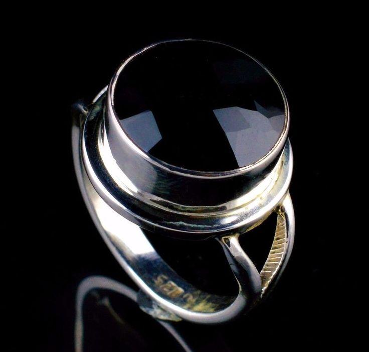 BLACK ONYX NATURAL GEMSTONE MENS HANDMADE RING SIZE 7.25 US 925 STERLING SILVER #Unbranded