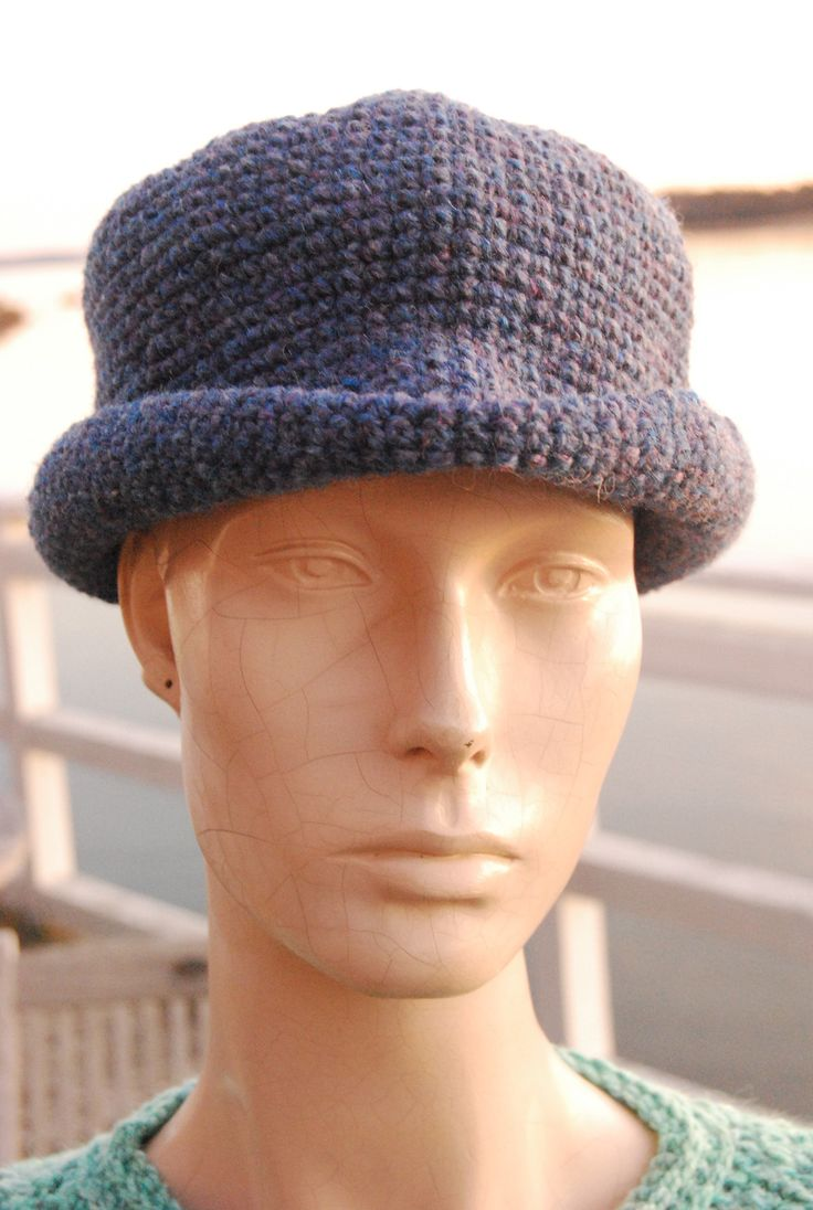 100% Wool Handcrocheted Brimmed Hat - Quoddy Blue