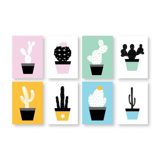 Set van 8 cactus kaartjes. Ontwerp: byBean. Je shopt ze hier: http://www.bybean.nl/set8cactuskaartjes
