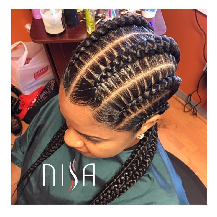 Braids By : Nisaraye  Feed-in braids are the current and cutest way to rock conrows, the obvious lines and hidden extensions are what makes it unique.