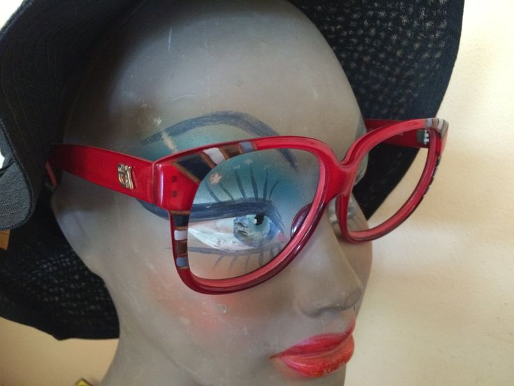 Montatura per occhiali da sole o da vista vintage, usata, rosso, oversize, Emmanuelle Khanh Paris by inlove4vintage on Etsy