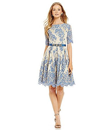 Eliza J Belted Illusion Lace FitandFlare Dress #Dillards