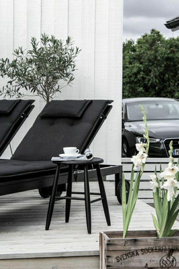 Space outdoors Scandinavian flat black minimalist furniture plants